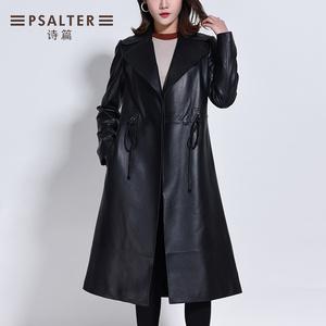 詩篇女裝冬季新款簡約系帶西裝領中長款真皮修身皮衣6C68509360