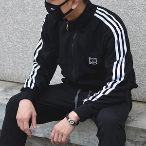 秋季韓版潮流小貓三條杠扛拉鏈長袖寬松衛衣外套男女情侶裝運動服
