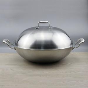 加大出口 18/10不锈钢炒锅炒菜锅五层钢不粘电磁炉煤气通用40cm