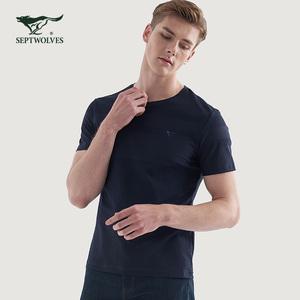 七匹狼丅恤男短袖t恤舒适男士短衫体桖t血衫土品牌正品专柜夏季