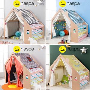 韩国EMS包邮-NASPA儿童游戏原木帐篷/宝宝多功能学习收纳整理房屋