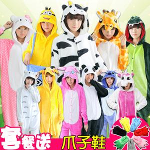 冬天睡衣女生可爱韩版连体的卡通女成人韩版动物毛绒男士套装一体图片