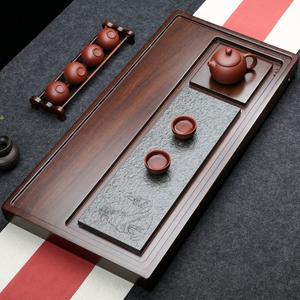 整块黑檀木茶盘实木茶台现代简约乌金石家用茶海大号排水功夫茶具