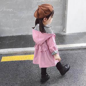 女童風衣外套春秋2019新款洋氣中長款韓版兒童秋季上衣女寶寶秋裝