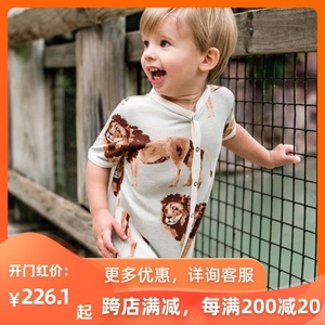 正品milkbarn夏季嬰兒短褲連體薄款男女寶寶有機棉竹棉短袖哈衣