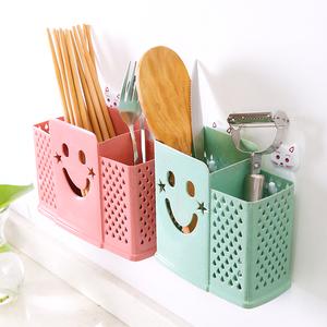 居家创意可爱筷子筒筷子盒塑料挂式沥水筷子笼收纳餐具架家用筷桶