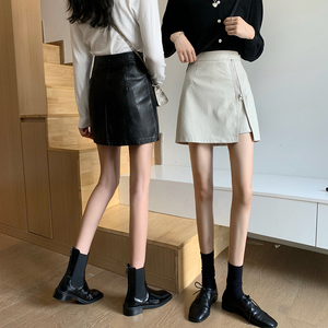 不規則開叉半身裙設計感小眾韓版百搭修身包臀皮裙黑色短裙女春季