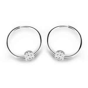 老银子999纯银耳环【灵珠】韩国女时尚百搭耳圈小 耳扣短发耳饰品