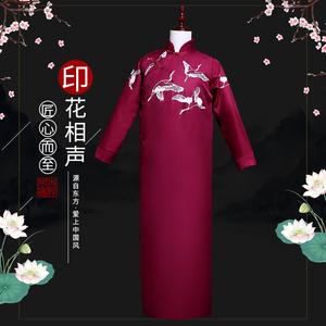 相聲大褂男式中國風中式德云華服秋冬長袖唐裝長衫復古民族服女鶴