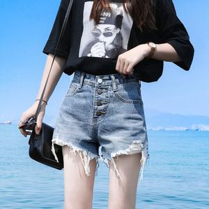 牛仔短褲女2020夏季新款韓版顯瘦寬松高腰毛邊a字破洞闊腿熱褲潮