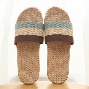 【天天特價】拖鞋夏季亞麻拖鞋家居拖鞋男涼拖鞋女室內木地板涼拖