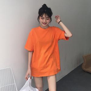 2019款夏季女装韩版宽松纯色简约上衣百搭显瘦中长款短袖t恤学生