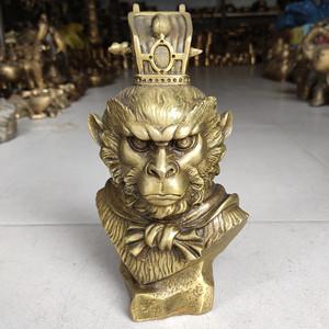 純銅孫悟空斗戰圣佛齊天大圣佛頭頭像頭雕塑銅擺件家居玄關飾品