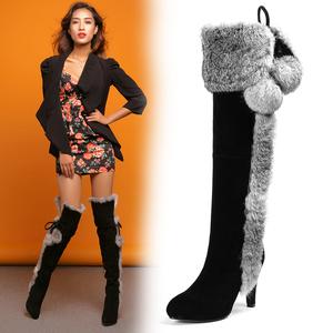欧美冬真皮靴细高跟高筒靴长筒靴加绒兔毛靴性感过膝靴长靴子女靴