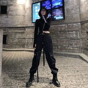 工装裤女 黑色秋冬ins欧美hiphop嘻哈潮酷高腰显瘦束脚宽松九分裤
