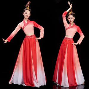 古典舞演出服女飄逸中國風古風獨舞漢服孔雀東南飛舞蹈服裝長紗衣