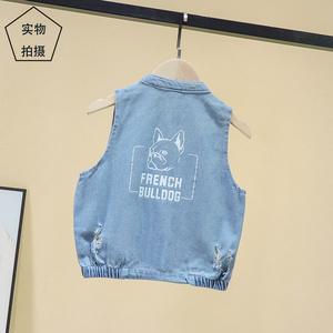 男童牛仔马甲中小童1-3-6岁小男孩韩版薄款牛仔背心宝宝外穿坎肩