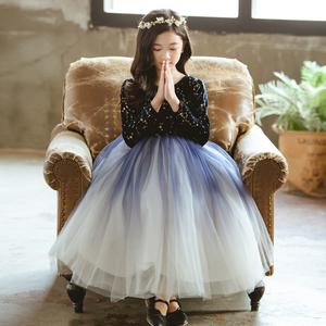 女童禮服公主裙冬加絨主持人超仙鋼琴表演兒童生日走秀長裙蓬蓬紗