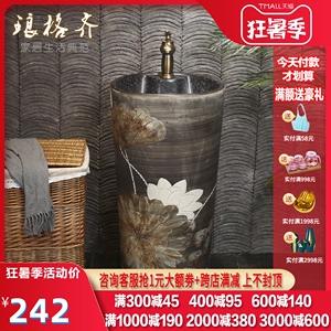 瑯格齊中式雕刻復古立柱盆洗手盆立柱式洗臉盆一體戶外庭院洗手池