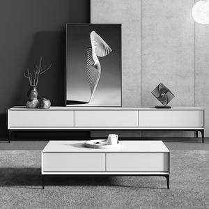 意式極簡電視柜茶幾組合北歐現代輕奢簡約小戶型客廳電視機置物架