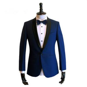 上海西服定制男士韓版修身新郎結婚西服套裝訂制藍色禮服西裝定做