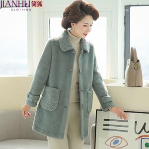 2021早春新款洋氣媽媽春秋裝毛呢外套中長款50歲闊太太水貂絨大衣