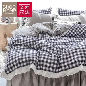 网红四件套全棉床裙公主风学生宿舍床单三件套纯棉北欧风床上用品