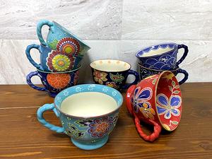 外貿出口系列 手繪浮雕花朵 春意盎然 敞口陶瓷馬克杯 咖啡杯 瑕