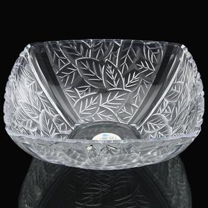 促銷勝亮塑料方形樹葉圖案果缸干瓜果沙拉盆置物收納碗創意水果盤