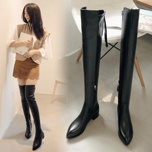 秋冬季加絨皮靴皮面長筒真皮軟皮過膝長靴女靴子大碼41女鞋40一43