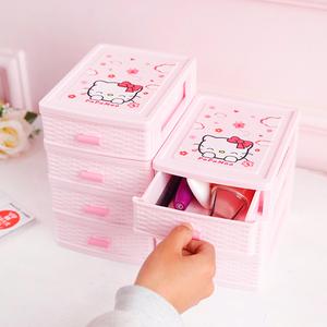 办公室桌面塑料收纳盒多层小号迷你可爱化妆品饰品抽屉式整理盒子