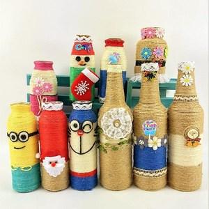 幼兒園玻璃瓶創意diy手工蕾絲花邊裝飾材料 麻繩創意玻璃花瓶子