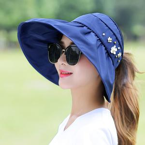 帽子女夏季韓版可折疊防紫外線大沿空頂帽出遊沙灘帽遮陽防曬涼帽