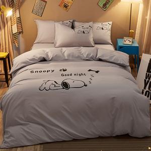 被套史努比四件套創意個性情侶4寢室床上三件套女ins風網紅款床單