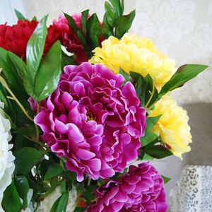 塑料花仿真花假花客廳套裝大牡丹花裝飾花落地套裝花束花藝 大朵
