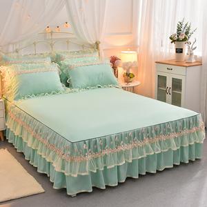 韓版蕾絲床裙單件公主床罩床套1.5米1.8m床墊防滑保護套床單