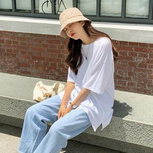 2019秋季新品女裝韓版寬松純白色圓領短袖T恤女中長款打底衫上衣