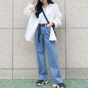 2019春季新品女裝韓版寬松翻領長袖中長款白襯衫上衣襯衣