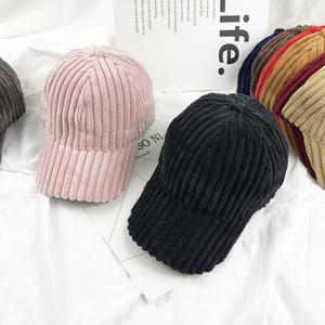 韓國帽子女潮粗條紋燈芯絨鴨舌帽秋冬季保暖百搭學生帽時尚棒球帽