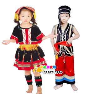 儿童彝族舞蹈演出服装 幼儿彝族 黎族表演服 少数民族服饰