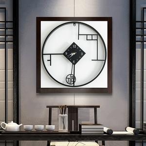 圆形简约新中式挂钟客厅个性创意时尚钟表玄关壁钟中国风艺术时钟