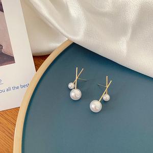 珍珠純銀針耳釘韓國風設計感耳環2019新款潮簡約小巧氣質耳飾品女