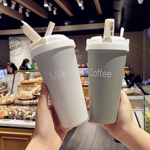 韩版宽口咖啡牛奶吸管杯男女便携不锈钢保温杯简约创意学生水杯子