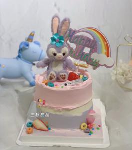 蛋糕裝飾擺件網紅紫色兔子天使玩偶套裝公主黛拉毛絨兒童玩具掛件