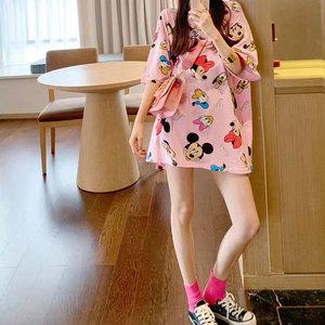香港潮牌2020夏季新款網紅短袖T恤女中長款韓版寬松顯瘦百搭上衣
