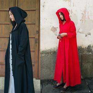 亚麻长款旅游拍照斗篷外套外搭夏薄连帽风衣女巫袍子防晒盘扣披风
