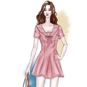 夜场女装性感2019新款夏季低胸显瘦海军风学生制服夜店时尚连衣裙