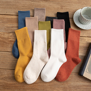 白色长袜子女中筒袜ins潮堆堆袜纯棉中长款日系纯黑色秋冬长筒袜