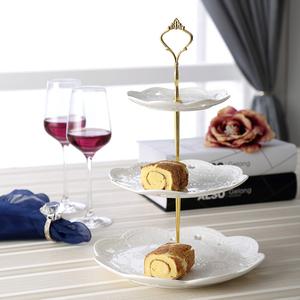 陶瓷水果盤歐式三層點心盤蛋糕盤甜品糕點盤客廳創意糖果點心托盤
