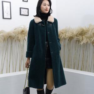 原創2019冬季新面料新款顆粒絨羊剪絨大衣女士長款外套澳洲純羊毛